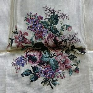 Vintage preworked crewel purple and mauve flowers